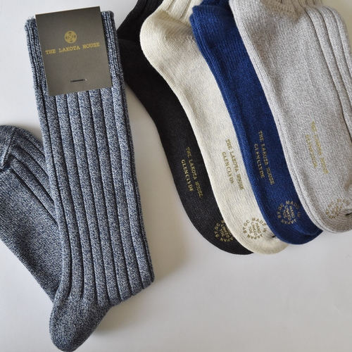 HAND LINKED SOCKS HEATHER BLUE