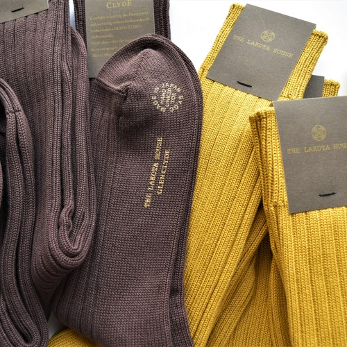 HAND LINKED SOCKS 「BORDEAUX & MUSTARD」