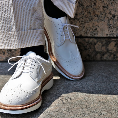 ALDEN N6515 WHITE SUEDE LONG WING TIP